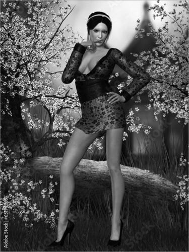 Fotobehang Illustratie Parijs Sexy Geisha