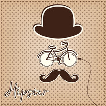 Man Made Of Hipster Elements, Bicycle, Bowler Hat And Mustache