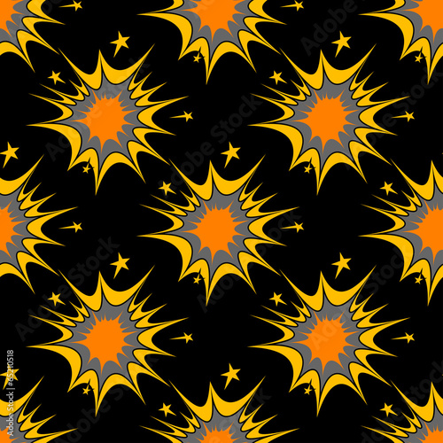 Colorful seamless pattern of explosions