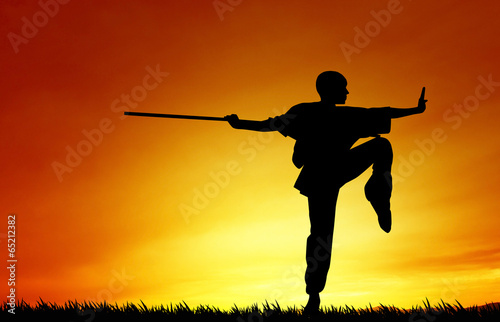 Fotografia, Obraz  Shaolin pose at sunset
