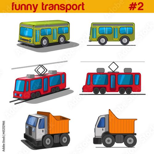 pojazdy-zabawa-kreskowka-wektor-zestaw-ikon-autobus-tramwaj-ciezarowka-ze-skrzynia-ladunkowa