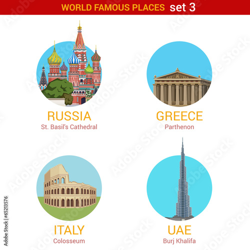 Fotografie, Obraz  Travel adventure vacation vector set: Moscow, Rome, Dubai.