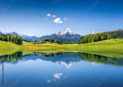 Foto op Plexiglas Landschappen Idyllic summer landscape with mountain lake and Alps
