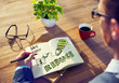 Leinwandbild Motiv Businessman Brainstorming About Energy Conservation