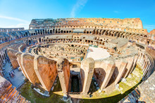 Colosseum (Coliseum) In Rome, Italy. Aerial View Inside Great Roman Theater.
