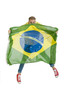 young attractive brazil supporter jumping with Brazil flag