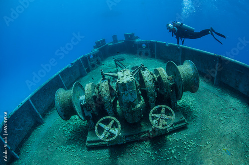 Photo Stands Shipwreck Diver and Shipwreck 2