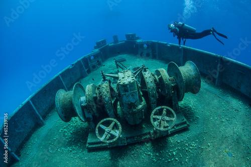 Garden Poster Shipwreck Diver and Shipwreck 2