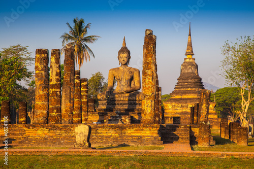 Sukhothai ruin old city country Thailand Canvas Print