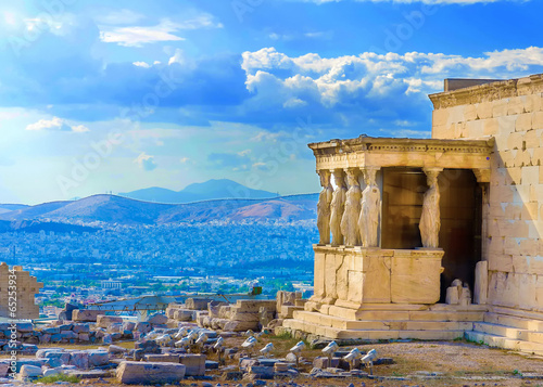 Poster Athens Erechtheion temple in Acropolis rock in Athens Greece