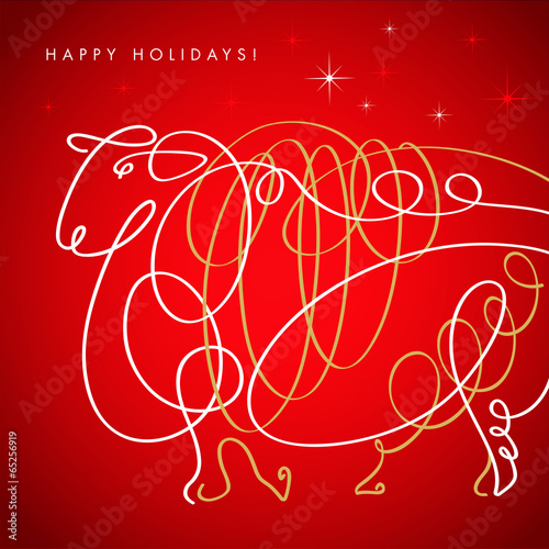 Poster  Hand drawn free style sketch of sheep, symbol of new year.