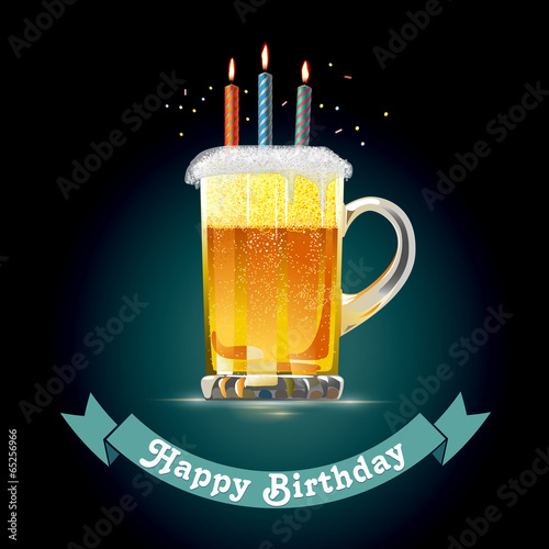 Fotografie, Obraz Happy Birthday for Beer Lovers