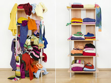 Before Untidy After Tidy Wardrobe With Winter Clothes On A Shelf