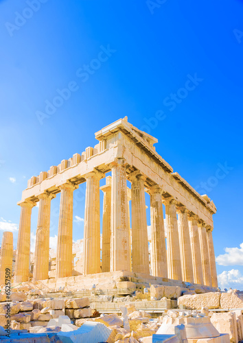 In de dag Athene the famous Parthenon temple in Acropolis in Athens Greece