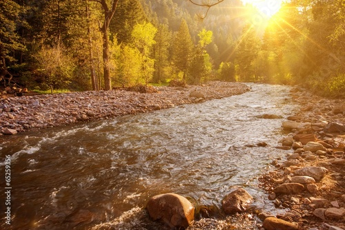 Mountain River at Sunset - 65259356