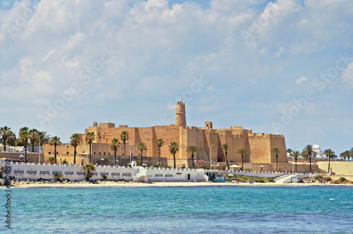 View of Ribat against cloudy sky in Monastir
