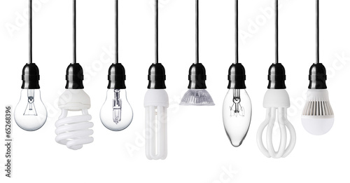 Photo  Set of different light bulbs isolated on white