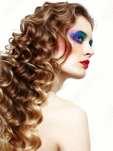 Fototapety, obrazy: Woman with long golden hairs