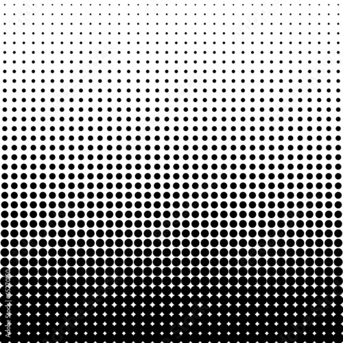 Valokuva  Vector halftone dots. Black dots on white background.