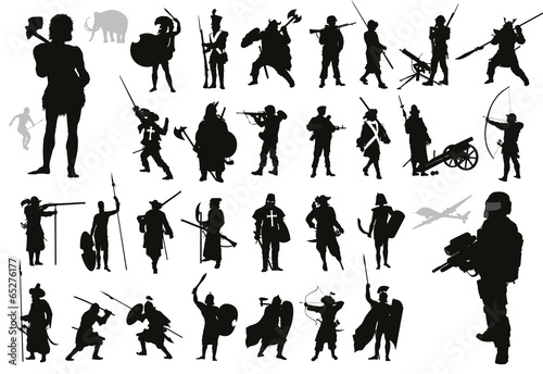 Fotografía  Warriors and soldiers high detailed silhouettes set. Vector