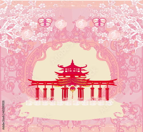 In de dag Candy roze Abstract card with Asian buildings , vintage frame