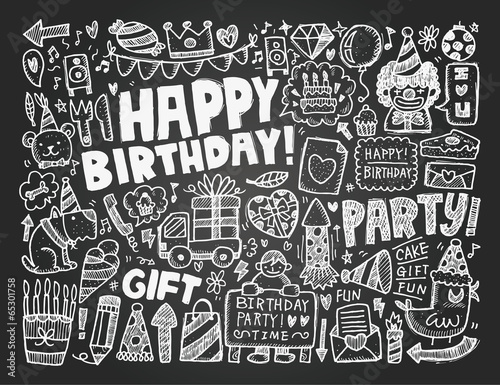Doodle Birthday party background Poster