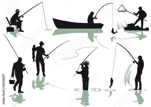 Fotografie, Obraz  Angler beim fischen