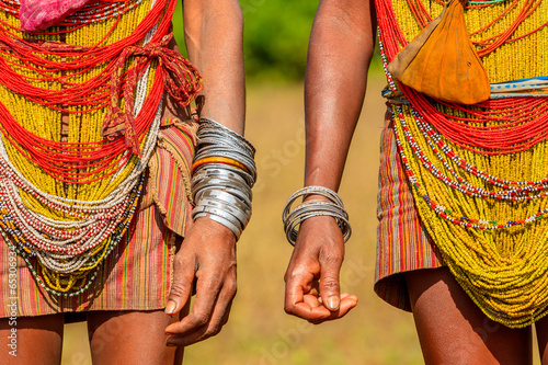 Fototapeta Colourful Tribal Dress, Orissa, India