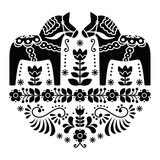 Swedish Dala or Daleclarian horse folk pattern in black