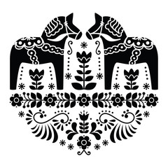 Panel Szklany Skandynawski Swedish Dala or Daleclarian horse folk pattern in black