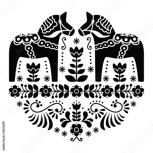 Swedish Dala or Daleclarian horse folk pattern in black - 65312191
