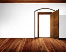 Open Door With Barrel Vault; White Wall, Wooden Floor