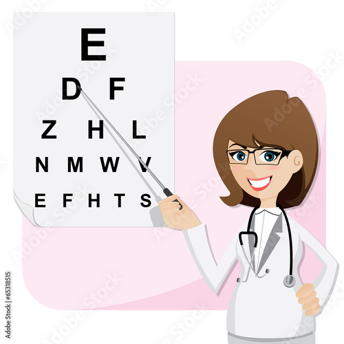 Fotografía  cartoon girl ophthalmologist with chart testing eyesight