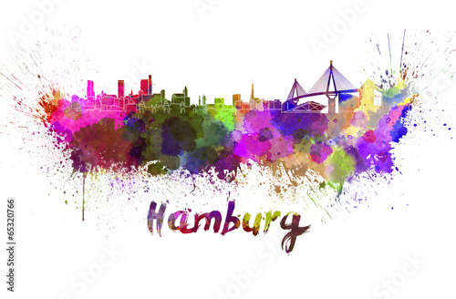Fotografía  Hamburg skyline in watercolor