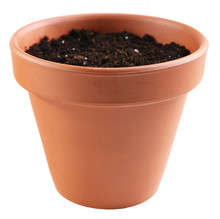 Clay Flower Pot With Soil, Isolated On White