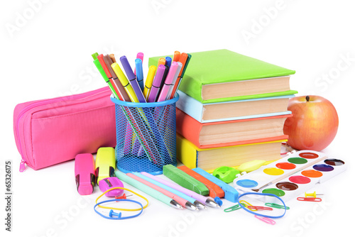 Poster Fleur Bright school supplies isolated on white