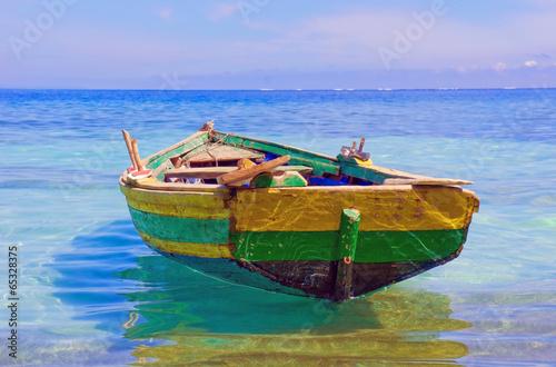 Canvas Print An old fishing boat docked near Labadee, Haiti.