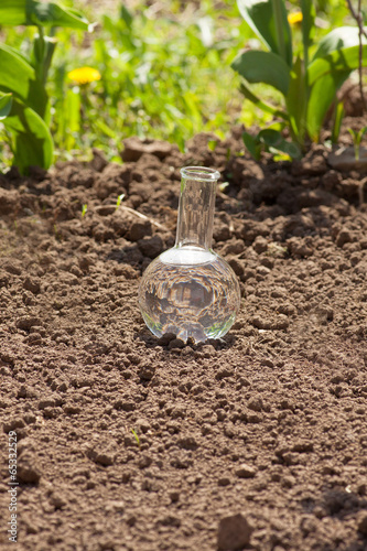 Deurstickers Droogte bulb with clear water on dry soil