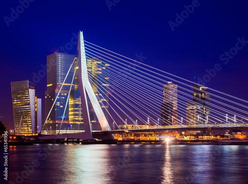 Staande foto Rotterdam Erasmus Bridge During Blue Hour, Rotterdam, The Netherlands