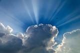Słońce schowane za chmurami i lecący ptaszek