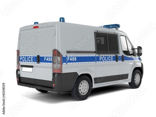 Fotografia  Полицейский автомобиль на белом фоне