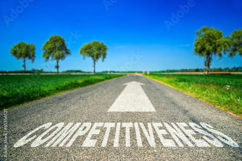 Photo Competitiveness word painted on asphalt road
