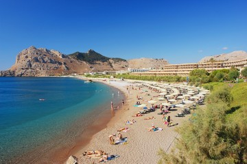View of the beach in Kolymbia, Rhodes
