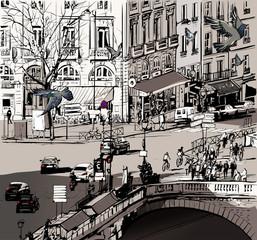 Panel Szklany Miasta view over Saint Michel bridge in Paris