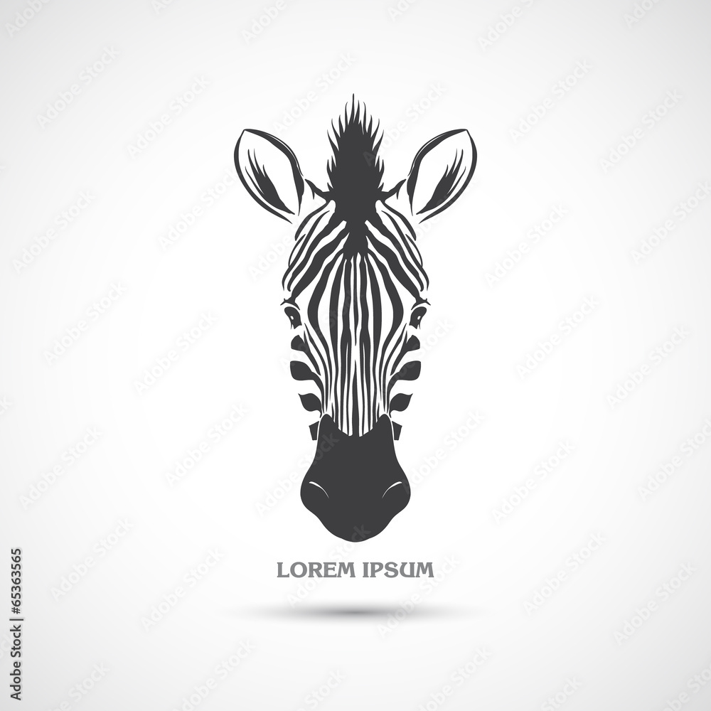 Fototapety, obrazy: Label with the head of a zebra. Vector.