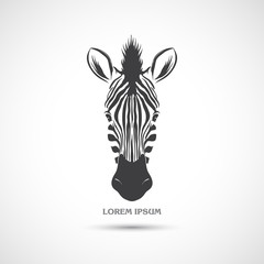 Fototapeta Label with the head of a zebra. Vector.