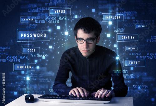 Fotografía  Hacker de programación en el entorno de la tecnología con los iconos cibernético