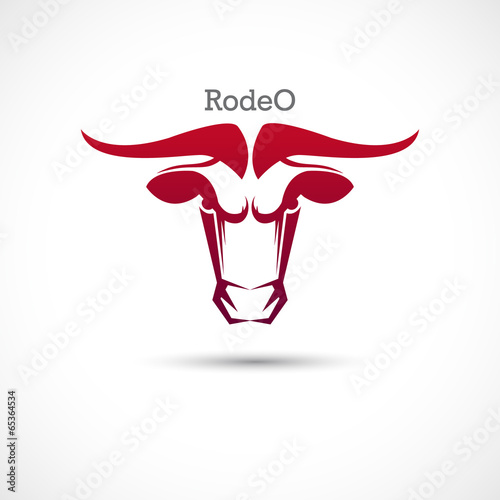 Label with a bull's head. Rodeo.