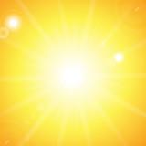 Sun and sunbeams on orange background