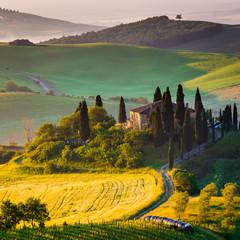 Panel Szklany Podświetlane Toskania Toscana, mattino in Val d' Orcia